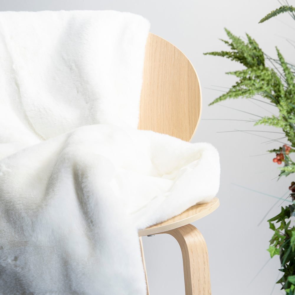 White Faux Rabbit Fur Throw