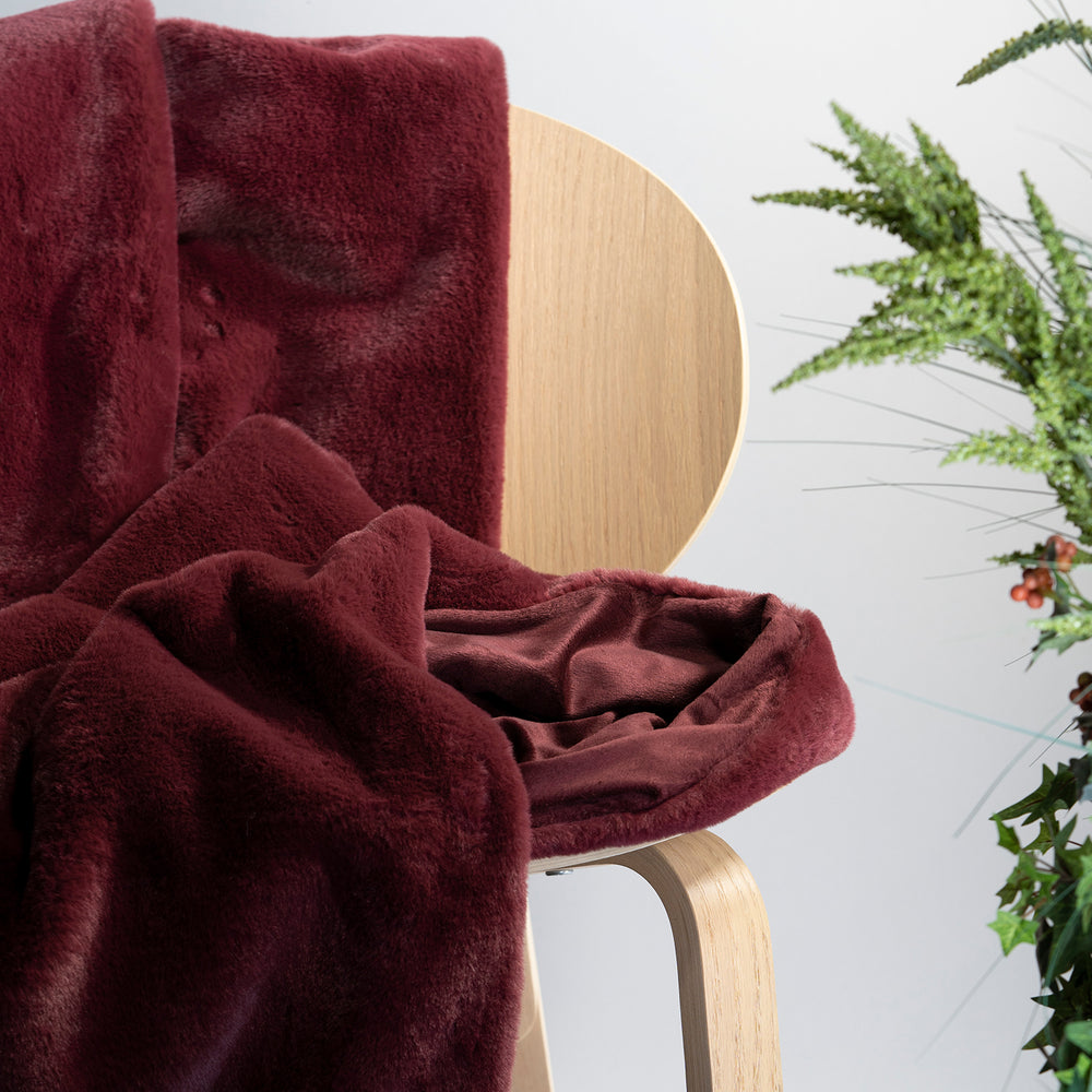 Burgundy Faux Rabbit Fur Throw