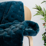 Teal Carved Faux Fur Throw