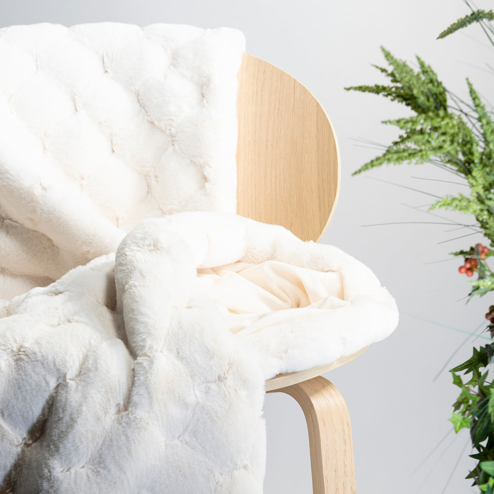White Carved Faux Fur Throw