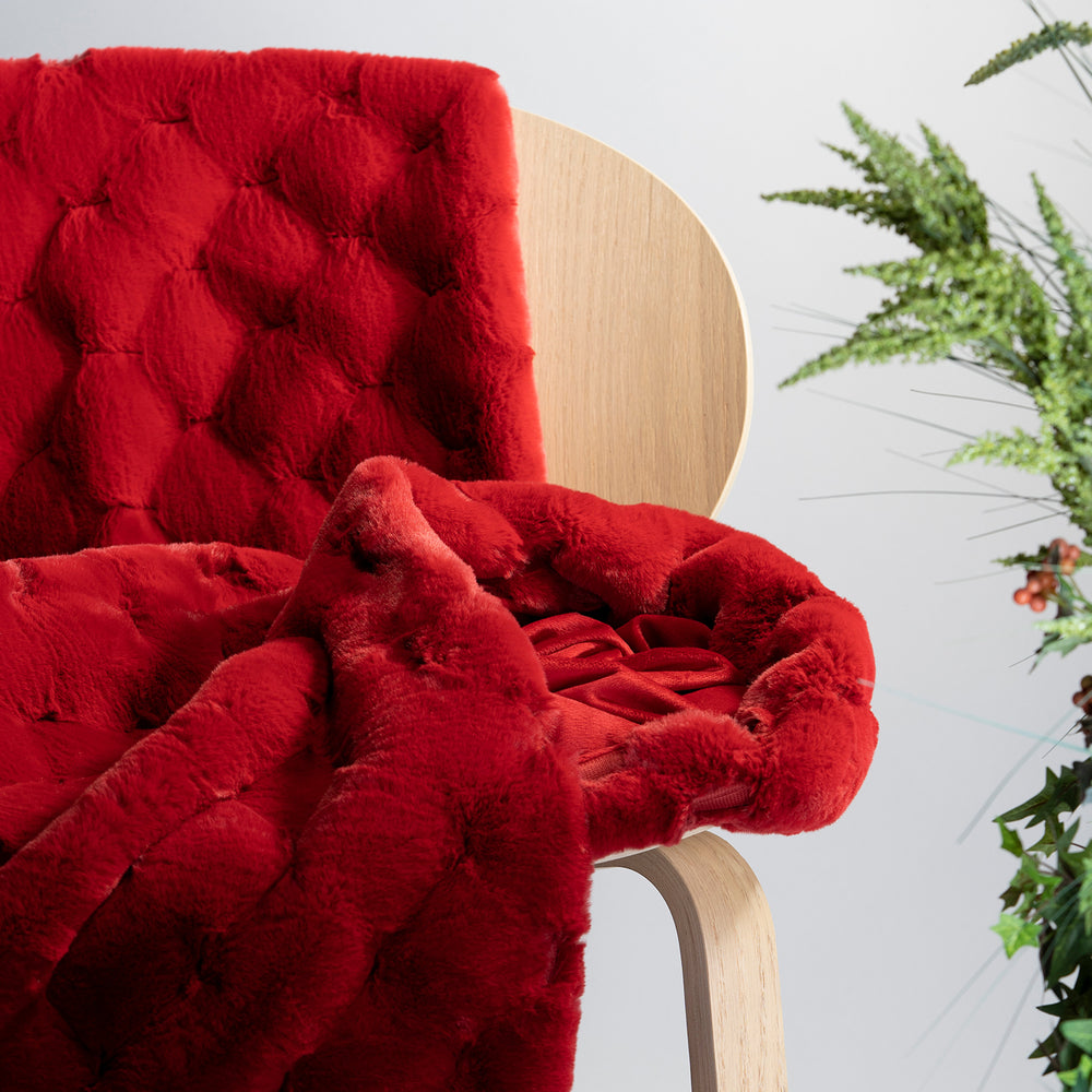 Red Carved Faux Fur Throw