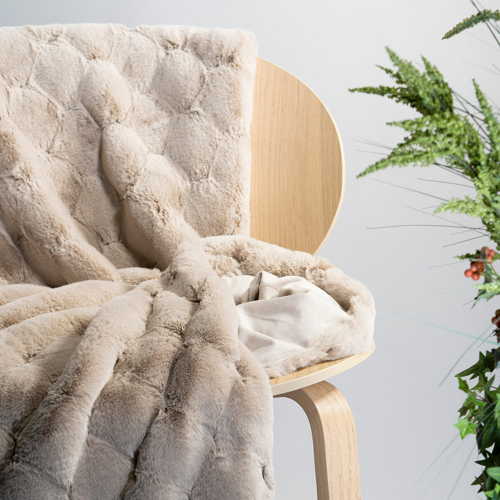 Beige Carved Faux Fur Throw