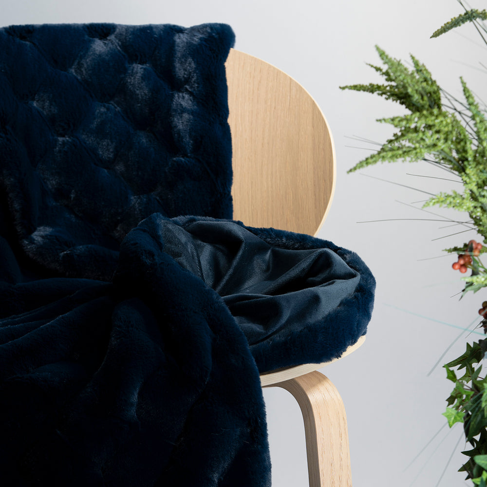 Navy Carved Faux Fur Throw