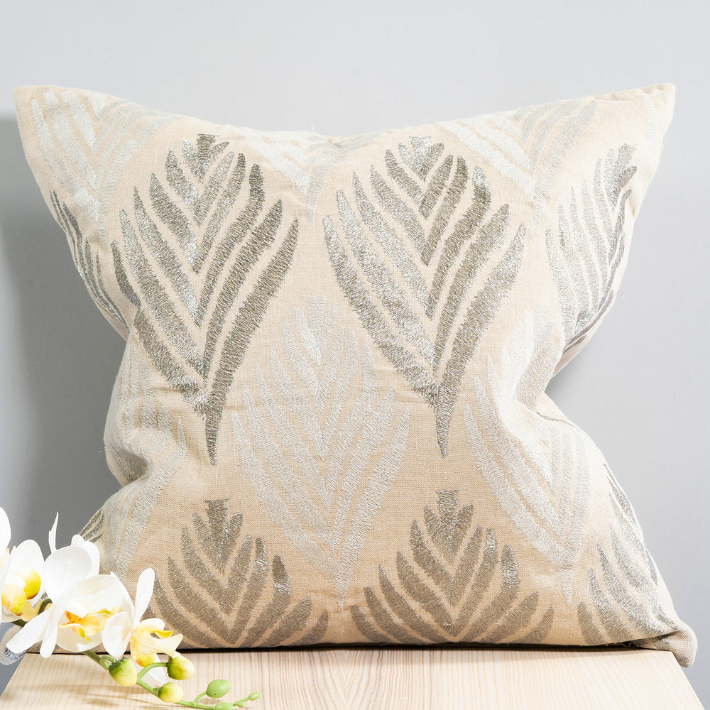 Embroidered Metallic Leaf Pillow 20""