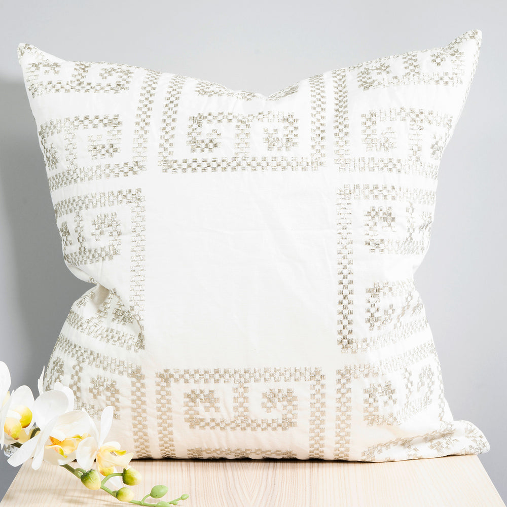 Embroidered Metallic Pillow 20""