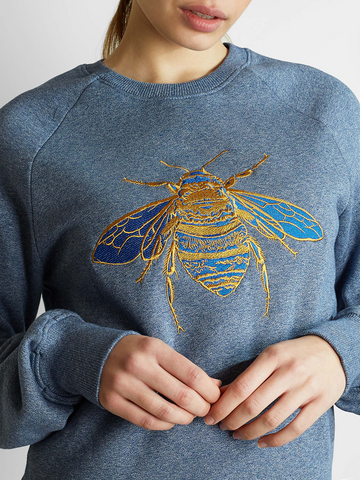 Gung Ho - Signature Embroidered Bee Sweatshirt - Grey Marl