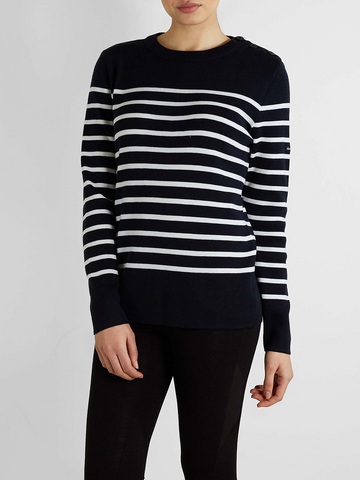 Armor Lux - Pure Wool Stripe Sweater - Navy