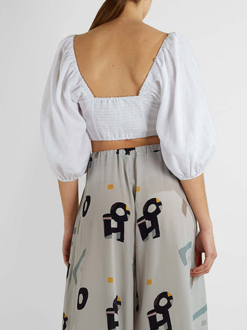 Mara Hoffman - Button Front Cropped Top - White