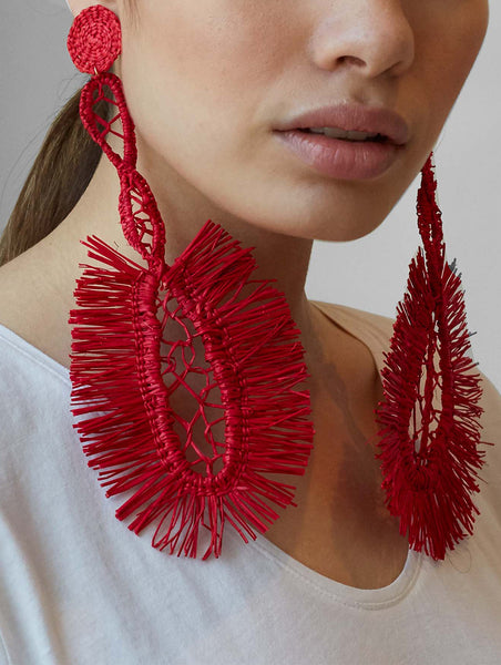 Shicato - Fan Earrings - Red