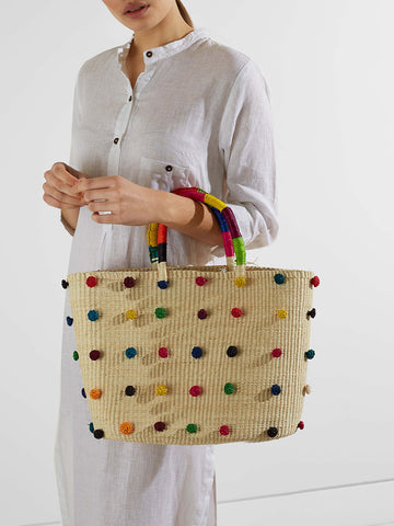 Shicato - Pom Pom Tote Bag - Multicoloured
