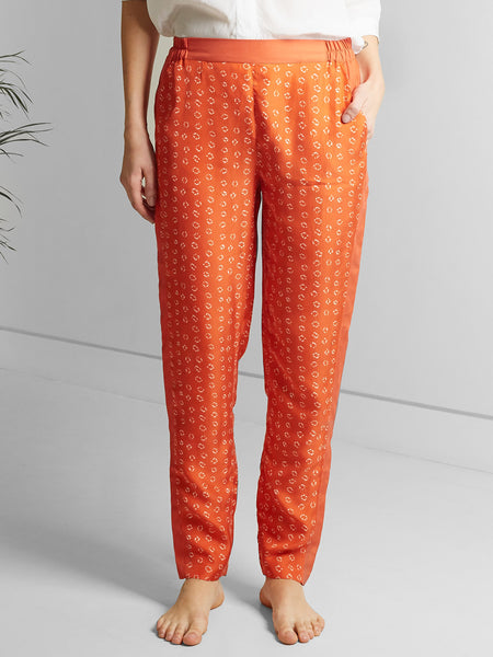 Hilda Trousers – Orange Bandhani Silk