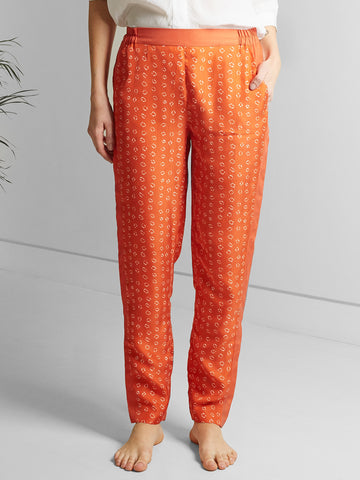 Hilda Trousers - Orange Bandhani Silk