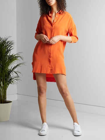 Malih Shirt Dress - Flame Orange