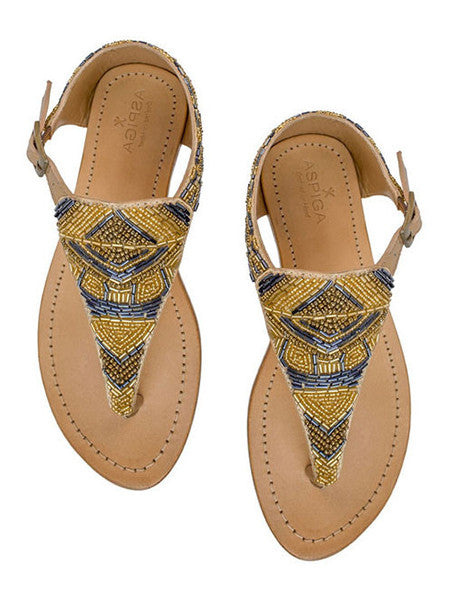 Aspiga - Hand Beaded Charlotte Leather Sandal