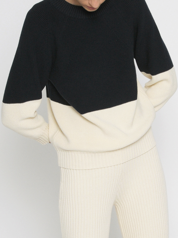 Diarte - Byron Bicolor Sweatshirt - White and Navy