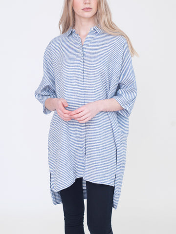 Beaumont Organic - Rowena Striped Shirt - Blue & White