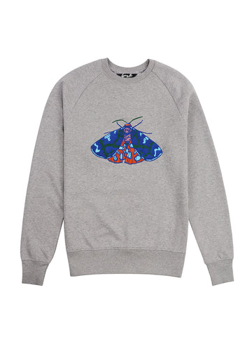 Gung Ho - Embroidered Tiger Moth Sweatshirt - Grey