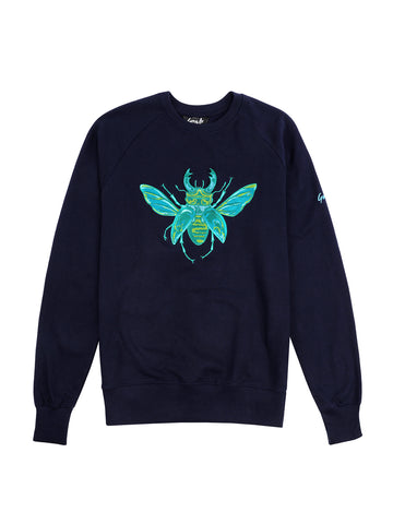 Gung Ho - Embroidered Stag Beetle Sweatshirt - Navy