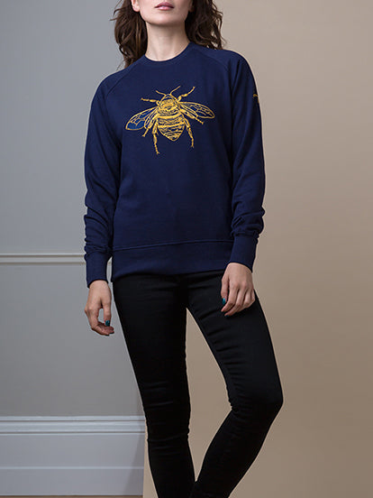 Gung Ho - Signature Embroidered Bee Sweatshirt - Navy