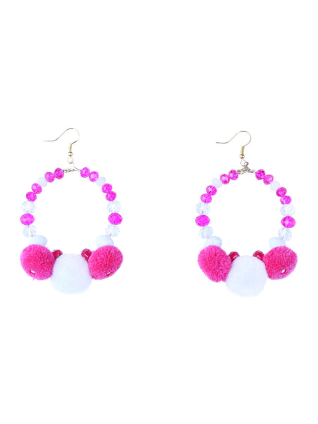 Iris - Pom Pom Earrings - Pink