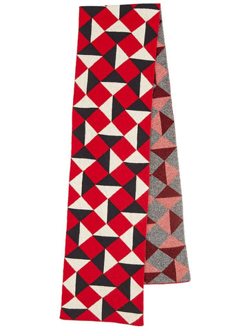 Jo Gordon - Geometric Jacquard Scarf - Red