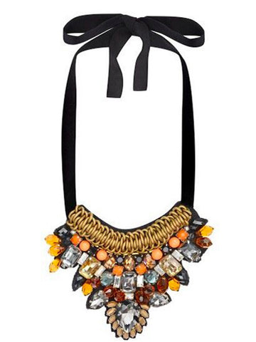Uzma Bozai - Hand Embroidered Necklace - Orange