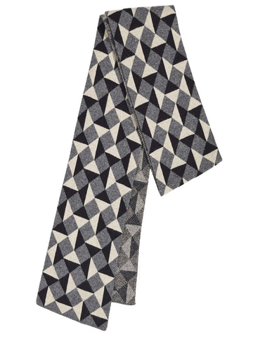 Jo Gordon - Small Geometric Jacquard Scarf - Grey
