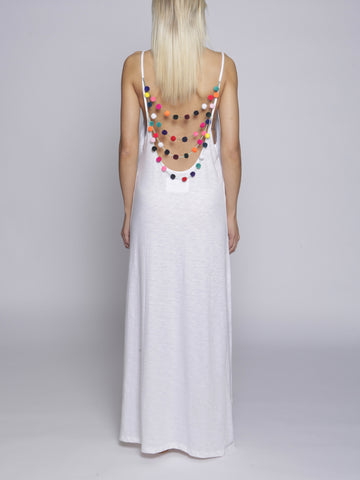 Pitusa - Pom Pom Necklace Dress - White