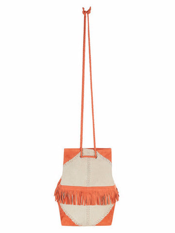 Uzma Bozai - Suede Frida Bag - Papaya and Ivory