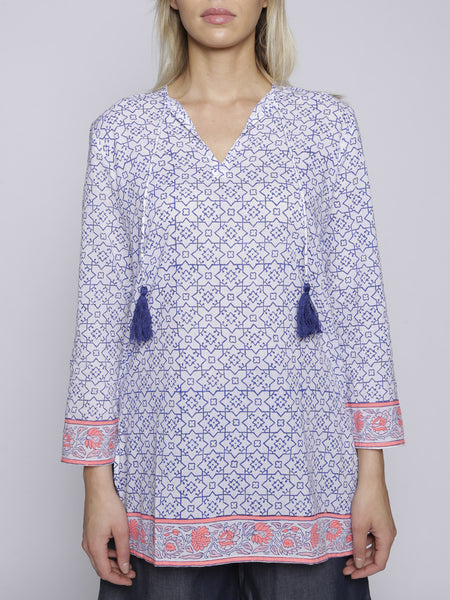 SZ Blockprint - Tunic - Blue and Pink
