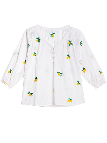 Pink City Prints - Citron Blouse - White
