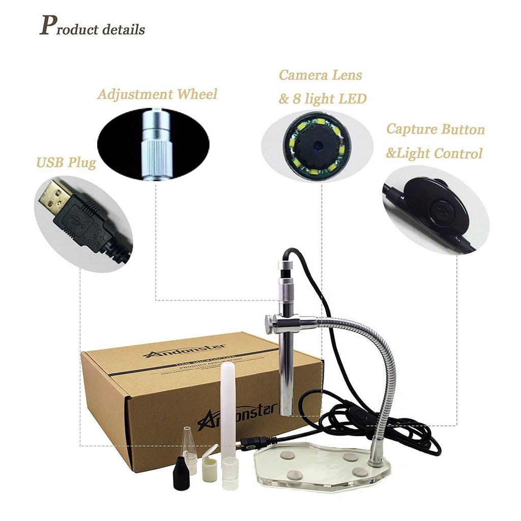 Andonstar A1-3 Portable USB Digital Microscope with Endoscope for SMT Soldering