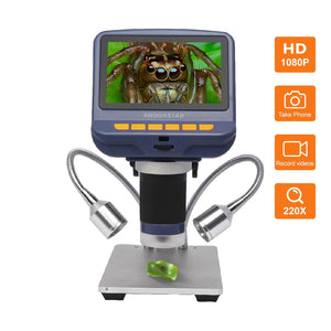 Andonstar AD106S 220X Digital Microscope with 4.3-inch Display for Slides Observation and PCB Inspection
