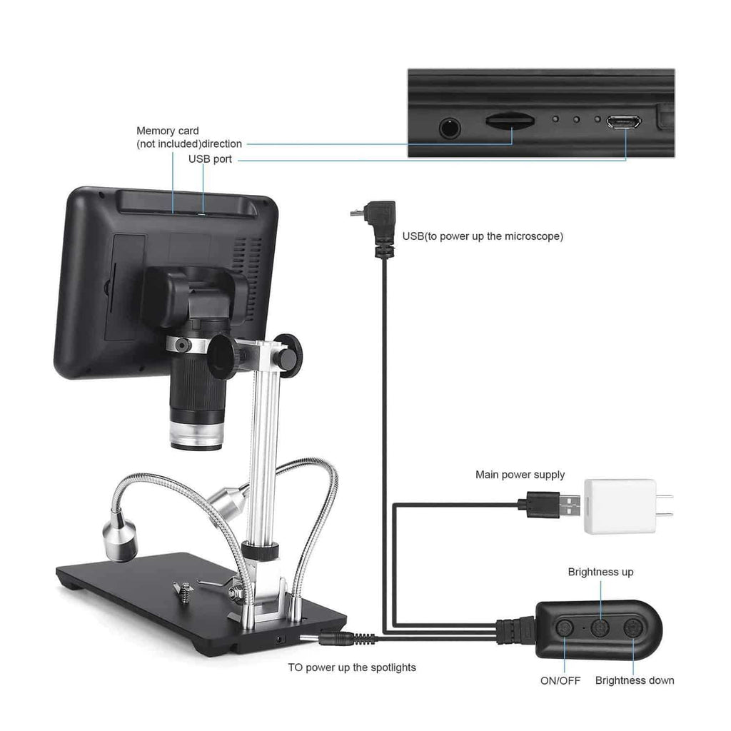 Andonstar AD207 Digital Microscope With 2 LED Fill Lights and UV Fliter