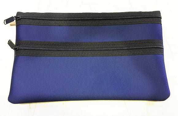 Neoprene Pencil Bag/Case with School Logo, Large with 2 Sturdy Zippers, 2mm Neoprene