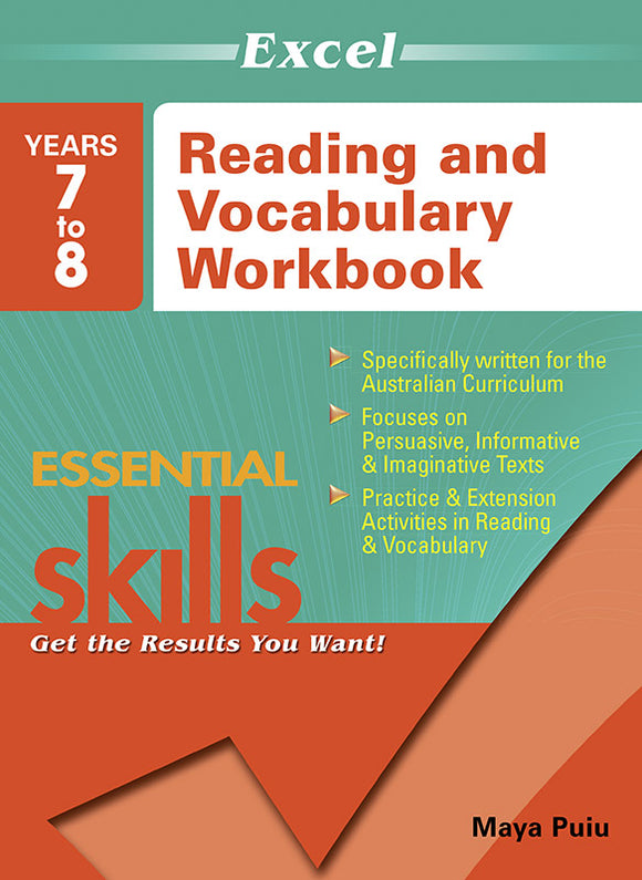 Excel Essential Skills: Reading and Vocabulary Workbook Years 7-8 9781741254082