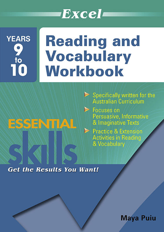 Excel Essential Skills: Reading and Vocabulary Workbook Years 9-10 9781741254136