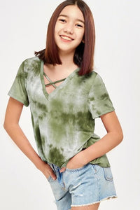 Saddie Tie Dye Top - Youth - Olive