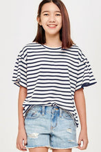 Load image into Gallery viewer, Tessa Striped Top - Youth Navy
