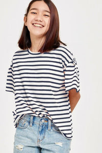Tessa Striped Top - Youth Navy