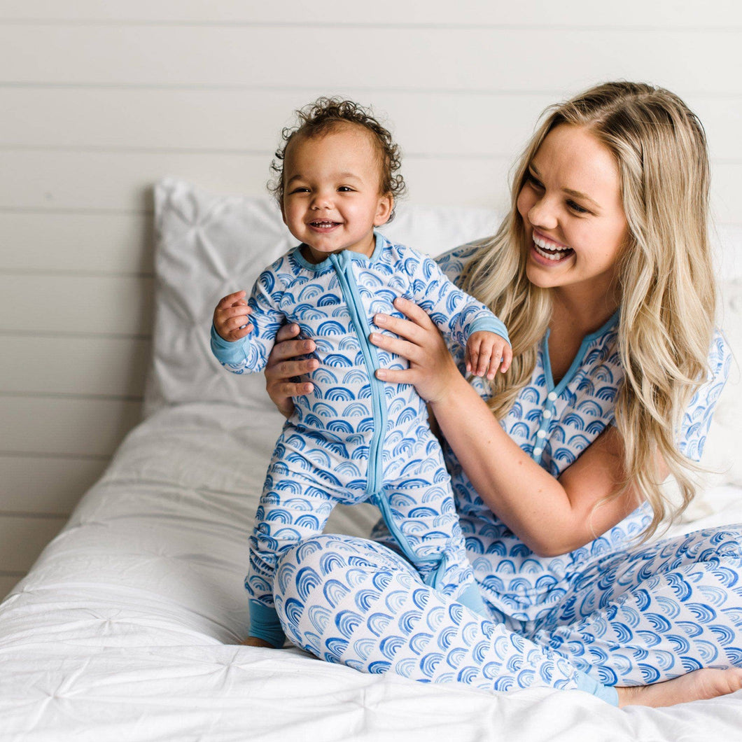 Little Sleepies - Blue Rainbows Romper/Sleeper