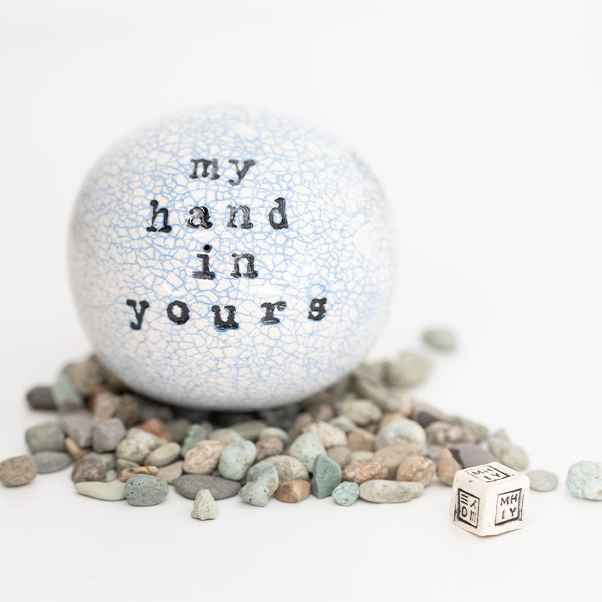 "Close up of the My Hand In Yours™ ""Spirit Orb"" created by Moye Thompson Ceramics"