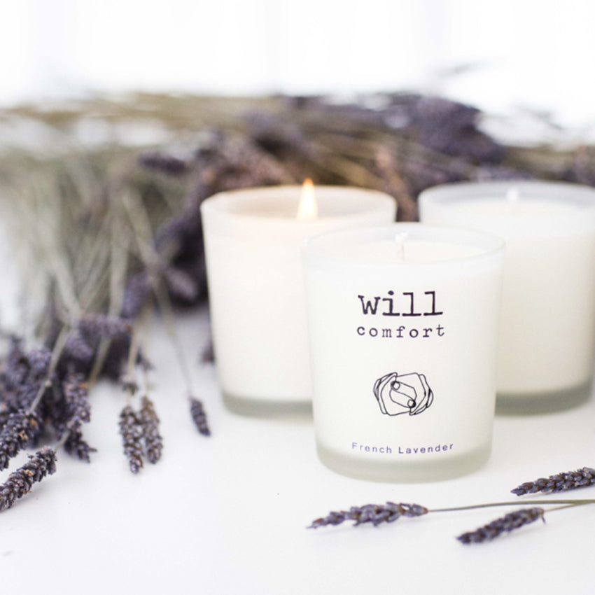 MY HAND IN YOURS™ Will Comfort Candle with Lavender bundles - authentic anniversary present idea - charitable gift