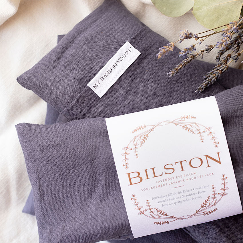 My Hand In Yours Lavender Eye Pillow created by Bilston Creek Lavender Farm with Linen Cover