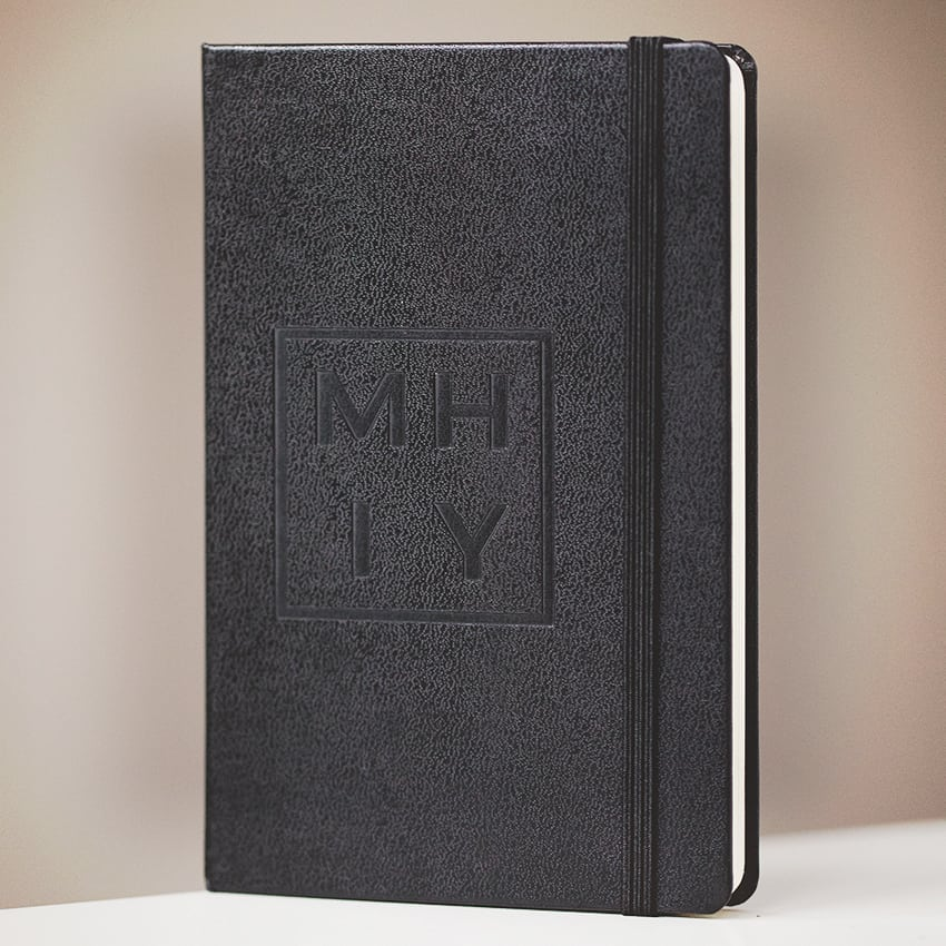 my hand in yours black note book with letters M H I Y on cover - inexpensive anniversary gifts