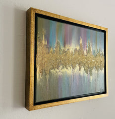 Acrylic Painting - Gold Framed Abstract Acrylic Gold Painting Mix Media Wall Art