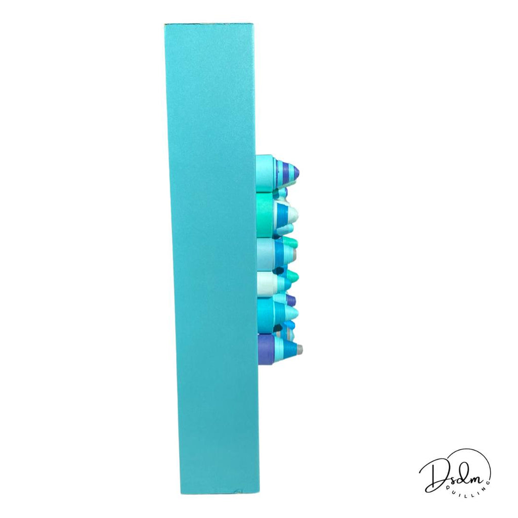 "Arts & Crafts - Abstract Quilling Wall Art In Blue/Turquoise /Navy - Framed 10""x10"" Rolled 3D Paper Wall Art"