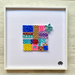 Arts & Crafts - Framed Abstract Quilling Geometric Wall Art With White Modern Gallery Frame