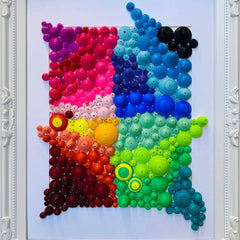"Quilling_art - Abstract Quilled Art Framed, Quilling Wall Art, Colorful Quilled Art - ""Rainbow"""