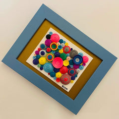 "Quilling_art - Abstract Quilling Paper Art -Quilled Wall Art - Mini Collection:""Rocky Road"" - Quilled Art Bright Colors On A 4x5 Cardstock - Framed"